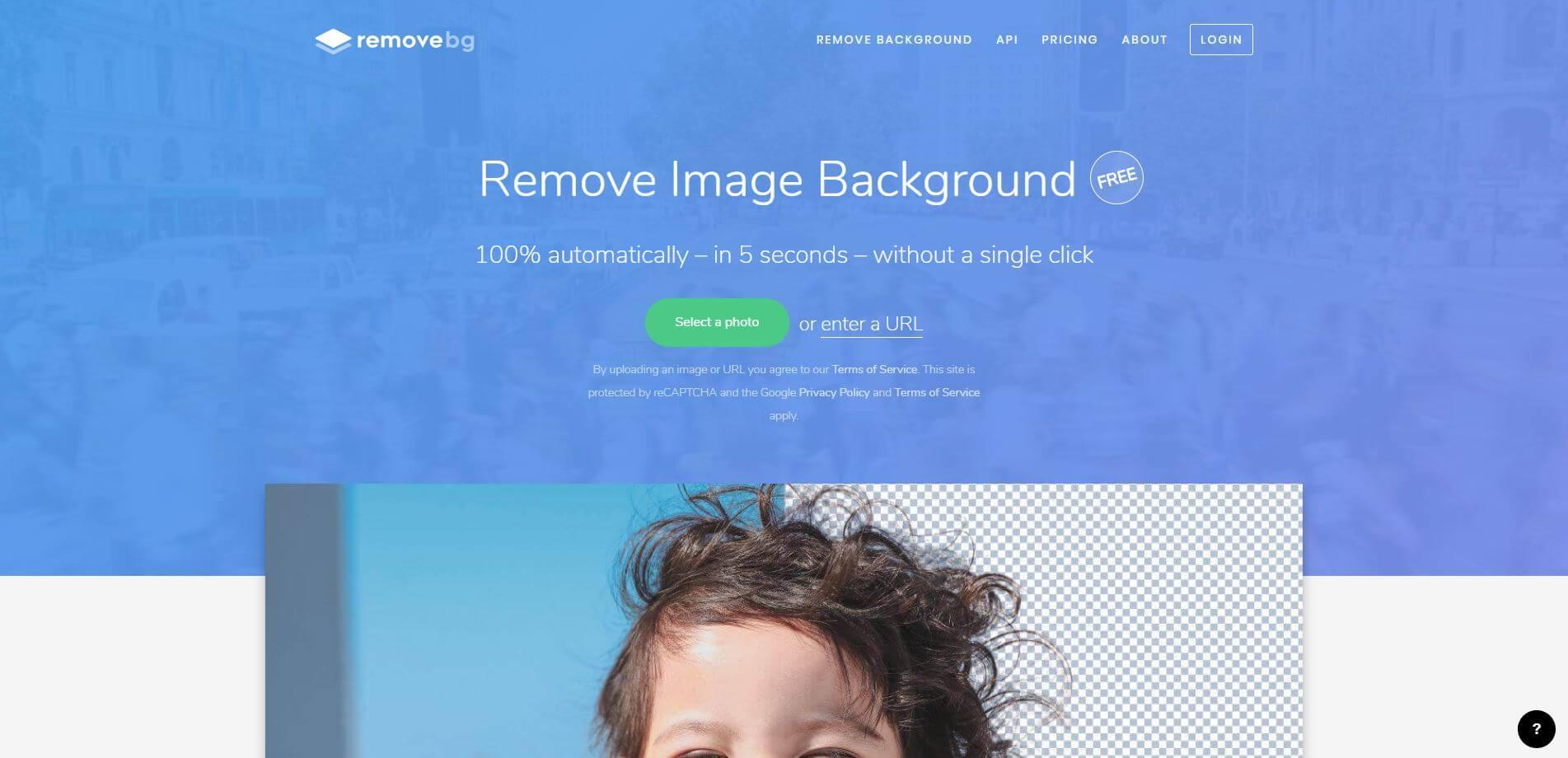 Remove Image Backgroundのトップページ