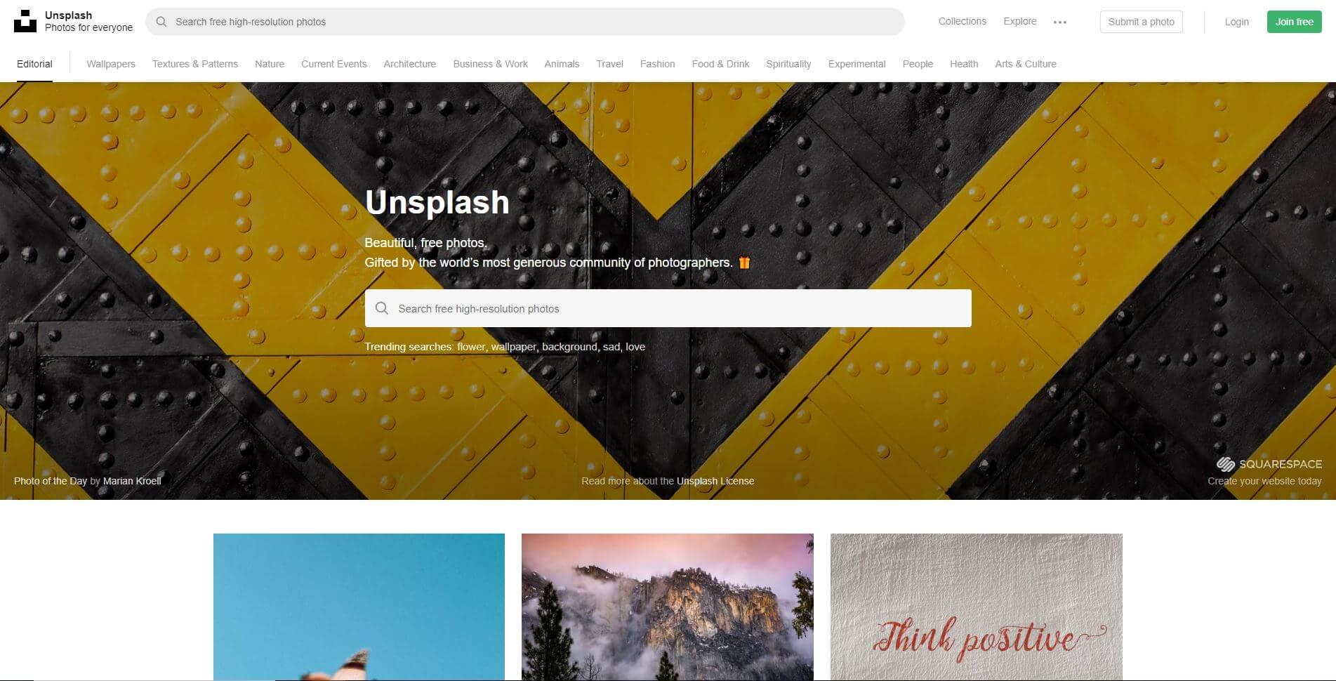 Unsplashのトップページ